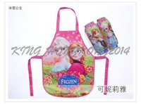 Wholesale Frozen Sleeveless Apron with set Oversleeves Princess Anna Elsa Children Kids Cartoon Art Painting Cooking waterproof Christmas Smock