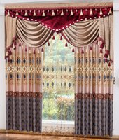 Wholesale Light european style luxury jacquard water soluble embroidered embroidered window shade Polyester silk and gold silk curtain can be customiz