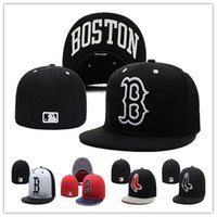 Wholesale Boston Red Sox fitted hats baseball cap full closure Red Sox hats size flat brim hat Fitted Caps