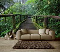 bedroom original paintings - 3d wallpaper custom photo non woven mural wall sticker wooden bridge to the original forest painting picture d wall room murals wallpaper
