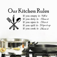 black cabinet - hot sale Quote Vinyl Art Wall Stickers Decal Our Kitchen Rules Mural PVC Wall Decor free ship
