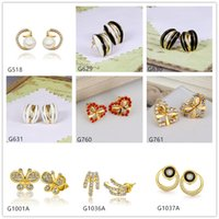 alphabet butterfly - Brand new pairs mixed style women s butterfly heart paw crystal gemstone k yellow gold earring GTG61 cheap yellow gold stud earrings