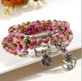 Wholesale explode natural watermelon crystal bracelet A clover wave fish flourishing multilayer original bracelet beads