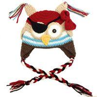 Unisex Spring / Autumn Crochet Hats Super Cool Owl Pirate Hat,Handmade Knit Crochet Baby Boy Girl Owl Animal Hat,Toddler Halloween Costume,Infant Photography Prop