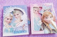 Wholesale 2015 Frozen Anna Elsa Children Paper Notebook Cartoon Snowqueen Hardcover Notebook With Small Lock Student Study Books School Supplies