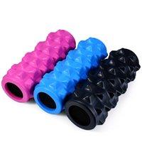 Yoga Blocks EVA, PU Blue,Pink,Black Wholesale-High Quality PU Skin Yoga Fitness EVA Foam Roller Physio Blocks Exercise Grid Injury Trigger Massage