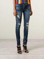Cheap BALMAIN Womens Blue Distressed Ribbed Zip Moto Skinny Denim Jeans 30 Brand New Sz 28 30