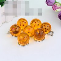 Wholesale 7pcs set cm Dragon Ball Z New In Bag Stars Crystal Balls PVC Figures Toys Keychain Pendant star Complete set