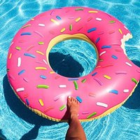 Wholesale Swimming Ring cm Donut Swimming Float Inflatable Adult Pool Floats Colors Strawberry Chocolate Summer beach toys Adult Life Bouy