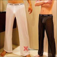 Wholesale Sexy Men Mesh Pants Brand See Through Mens Sheer Pants Long Pajamas Sex Gay Penis Loose Sleep Bottoms Underpants Sleeping Pants