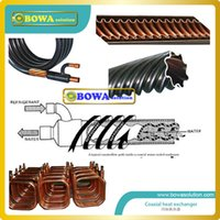 Wholesale 19KW outer and inner copper pipe heat exchanger for water cooled refrigeration plant