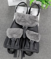 australian leather bags - Fashion Genuine Real Sheep Leather Australian Wool Fur Backpack bag Hangbag Backpack Nice Gfit