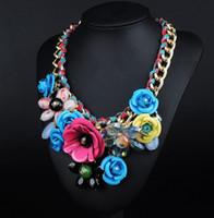 Wholesale N00143 fashion maxi bohemian Choker Statement Necklace Collar Crystal Flower jewelry women Vintage necklaces pendants Hot