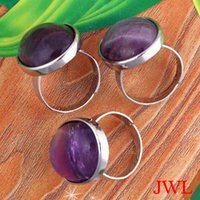 Wholesale Hot Sale Oval Amethyst Rose Quartz Blue Sandstone Aventurine Opal Natural Stone Adjustable Rings Charms Amulet Jewelry