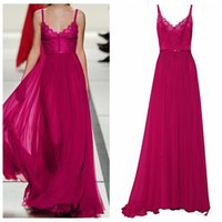 Wholesale 2016 Zuhair Murad Fuchsia Chiffon Evening Dresses Sexy Spaghetti Strips Lace Appliques Top Sweetheart Prom Party Gowns Custom Ribbon