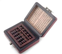 Wholesale Chinese Abacus Rare Counting Frame Dragon Phoenix Leather Box Brass Lock