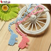 Wholesale 3 Colors Baby Boy Girl Dummy Pacifier Soother Nipple Chain Clip Buckle Holder Anti lost Pacifier Cartoon Chain