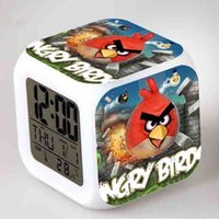 Wholesale Cartoon Birds Alarm Clock Toy Doll Digital changeable color Electronic despertador Green Pig toy Gift for Girls Action Figures