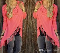 Wholesale 2016 Women Fashion Dresses Irregular Long Section Classic Tassel Cotton Jacket T shirt Color Size