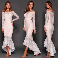 Wholesale Sexy Latest White Lace Off Shoulder Tea Length Cocktail Dresses Vintage Long Sleeve High Low Mermaid Party Formal Gowns EN7082