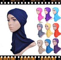 Wholesale Muslim scarf Plain Color Hats Islamic Tube Inner Hat Cap Islam Bandana modal Kerchief Women Turban Headbands Babushka Under Scarf