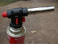 Precio de De gas de soldadura de hierro-Flamethrower al aire libre de gas de la antorcha butano quemador pistola de hierro de encendido automático para soldering camping soldadura Flamethrower barbacoa herramienta Z00409