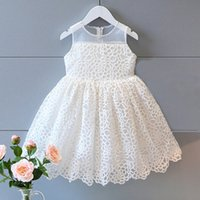 embroidered chiffon lace - New summer Girls pricess dress lovely Embroidery flower dress A line Solid sleeveless Zipper Chiffon lace for years girls Party wedding