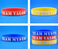 ball foods - poke Go Silicone Bracelet Colors Pocket Monster team Wristbands Poke Ball Pikachu Squirtle valor mystic instinct logo