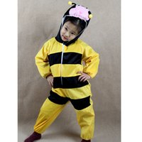 bee kids costume - Bee Costumes Kids Plush One piece Rompers Children Cartoon Animal Cosplay Role Play Stage Performance Halloween Christmas Party