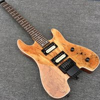 Wholesale In Stock NEW Arriva Steinber Headless Electric Guitar Portable Guitar Nature Color Spalted Maple Top