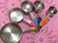 Wholesale 5pcs Set Stainless Steel Measuring Cups And Measuring Spoon Scoop Silicone Handle Kitchen Measuring Tool sets