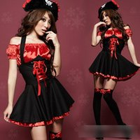 Cheap Wholesale-Halloween Pirate Costumes Chiffon Dress Up Buccaneer Uniforms Temptation Cosplay Outfit Cartoon Character Costumes