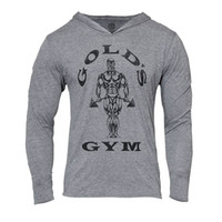 al por mayor tanque naturales-Mens Gym Hoodie manga larga Bodybuilding Hoody hombres deportes trajes Tank Top musculoso camisas Algodón Assassins Creed Gold Gym