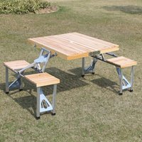 Wholesale 2016 Promotion Special Offer camping table New Outdoor Garden Wooden Portable Folding Camping Picnic Table With seats