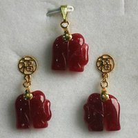 Cheap beautiful red jade elephant earrings pendant set & Free Shipping