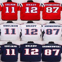 Wholesale Men s Stitched Elite Football Julian Edelman Rob Gronkowski Tom Brady Blue Whtie Red Elite Jerseys Drop Shipping Mix Order