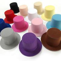 Wholesale 10pcs Felt Mini Taller top hat Hen Party Wedding Prom Mini Top hat Woman Girls Bridal Hair Accessories colors cm cm