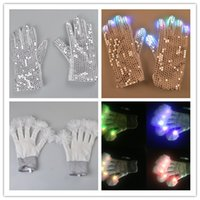 bar mitts - Fashion Sequins Led flash Gloves LED Fluffy Glove Holloween Christmas New Year Party Masquerade Performace Bar Dance Props Flashig Boom Mitt
