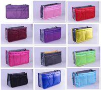 bag organizer insert clear - Women Lady Travel makeup bag Insert Handbag Purse Large liner Tote Organizer Dual Storage Amazing make up bags D633