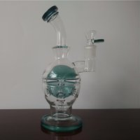Wholesale Green Glass Water Bongs Pipes Bent Type Recycler Filter Percolators Smoking Hookah Faberge Egg Glass Water Pipe syq025
