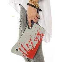 Wholesale New Design Bloody Cleaver Hatchet Halloween Horror Clutch Purse PU Handbag Cleaver Clutch Bag DHL free