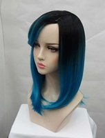 Wholesale Ombre Straight Wigs Tsnomore Chic Shoulder Length Black to Blue Straight Women Wig with Side Bang