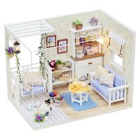 Wholesale Wooden Dollhouse Furniture Kids Toys Handmade Gift Diy Doll House Kits With LED Stuff Home Decor Craft Doll Houses Miniature H013