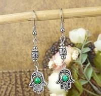 beaded earring chandelier - ER334 Gypsy colors Turkey Eye Buddha hand Tibetan Silver Beaded vintage drop earrings Jewelry