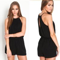 Wholesale Womens Playsuits Rompers Overalls Sexy Casual Sleeveless Halter Keyhole Jumpsuit One piece Ladies Playsuits Bodycon Party Black Shorts Pants