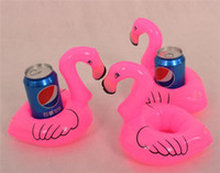 Wholesale Pink Flamingo Floating Inflatable Drink holder Can Holder bottle holder cup holder bottle floats glass floats can floats cup floats
