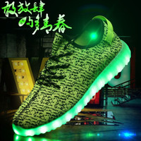 Wholesale New Yeazyy Skate shoes Men s skateboard shoes Manufacturers of light colorful Heely couple USB charging LED lamp fluorescent running shoes