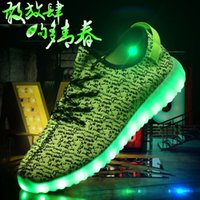 led led manufacturer - New Yeezy Skate Mens skateboard shoes Manufacturers of light colorful Heely couple USB charging LED lamp fluorescent Yeezy shoes