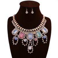 american precious metals - 2016 new arrival woman fashion jewelry European and American version of colorful precious stone metal embed diamond necklace and earrings