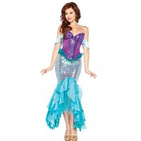 ariel cosplay - New Sexy Evening dress Pretty Princess Deluxe Ariel Adult Sequin Mermaid Cosplay Costume for Halloween